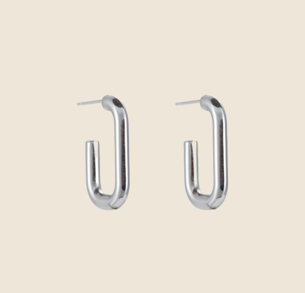 Big square earstuds silver