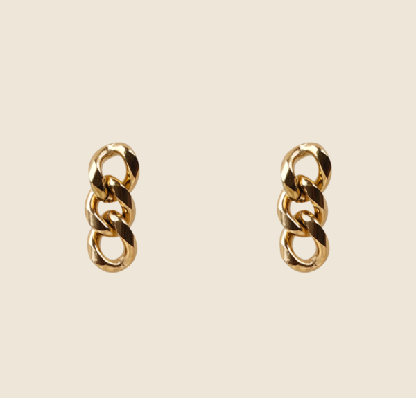 Linked Chain earstuds gold