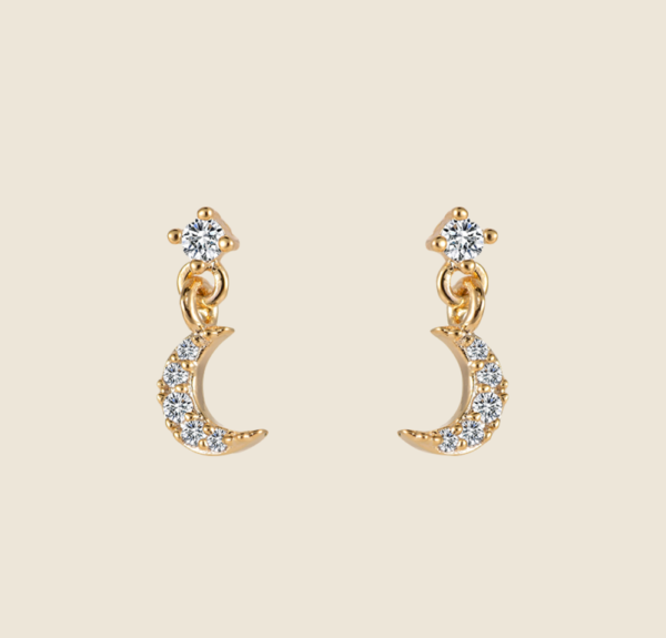 New moon earstuds gold